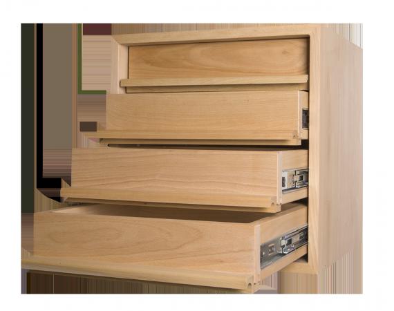 Meuble de rangement suspendu 2 tiroirs 1 rayon sas etablis de la ronce for Rangement tiroir cuisine ikea