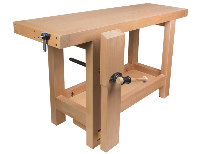 établi en bois professionnel avec presse de menuisier