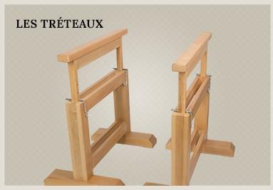 Tréteaux en bois réglables en hauteur pour atelier